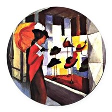 August Macke - The Hat Shop Round Car Magnet