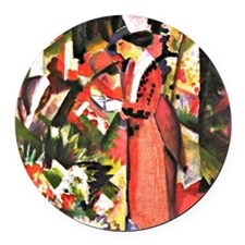 August Macke - Walk in Flowers Round Car Magnet