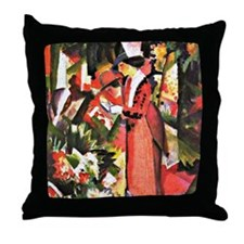 August Macke - Walk in Flowers Throw Pillow