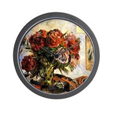 Gauguin - Vase of Peonies Wall Clock