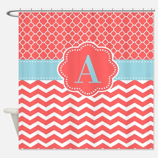 coral and blue shower curtain. Coral Blue Chevron Monogram Shower Curtain And Curtains  CafePress