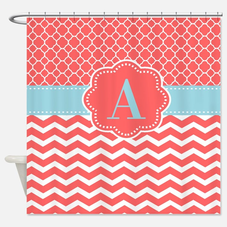 Coral And Blue Shower Shower Curtains | Coral And Blue Shower ...