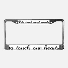 Pets Touch Heart License Plate Frame