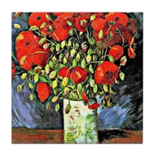 Van Gogh - Vase with Red Poppies Tile Coaster