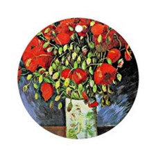Van Gogh - Vase with Red Poppies Round Ornament