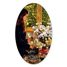 Young Girl with a Vase of Flowers,  Decal