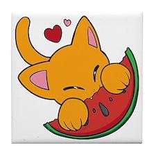 Kawaii Watermelon Kitty Tile Coaster