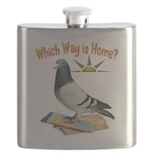 Which Way is Home? Fun Lost Pigeon Art Flask