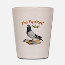Which Way is Home? Fun Lost Pigeon Art Shot Glass