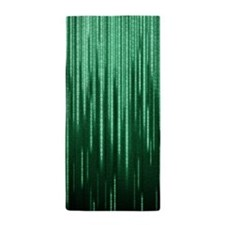 Green Binary Rain Beach Towel