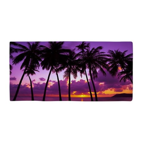 Purple Tropical Sunset Beach Towel