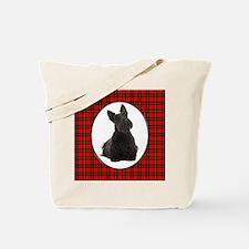 Red Plaid Scottie Tote Bag