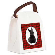 Red Plaid Scottie Canvas Lunch Bag