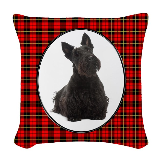 Red Plaid Scottie Woven Throw Pillow by shopdoggifts