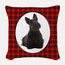 Red Plaid Scottie Woven Throw Pillow