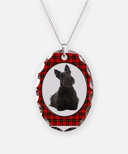 Red Plaid Scottie Necklace Oval Charm