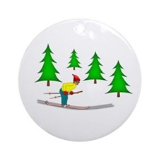 Skiing Ornament (Round)