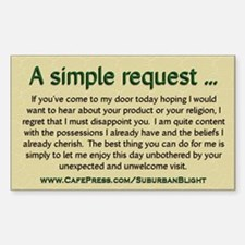 """""""No Soliciting Simple Request"""" Decal"""