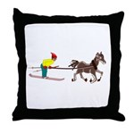 Horse Skijoring Throw Pillow