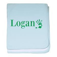 Green Logan Name baby blanket