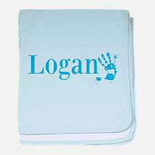 Blue Logan Name baby blanket