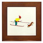 Dog Skijoring Framed Tile