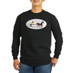 Horse Skijoring Long Sleeve Dark T-Shirt