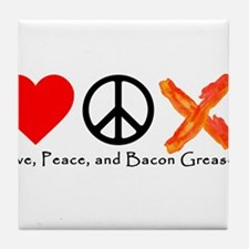 Love Peace and Bacon Grease Tile Coaster