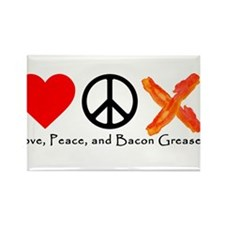 Love Peace and Bacon Grease Magnets