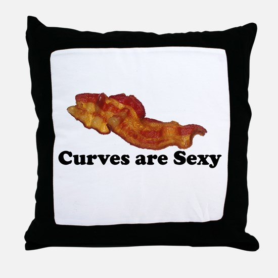 Curves are Sexy Bacon Throw Pillow