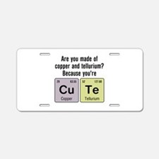 Cu Te (Cute) Chemistry Aluminum License Plate