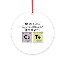 Cu Te (Cute) Chemistry Ornament (Round)