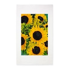 Yellow painted sunflowers 3'x5' Area Rug