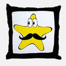 Mustache Star Cartoon Throw Pillow