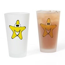 Cross Eyes Star Cartoon Drinking Glass