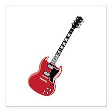 "Electric Guitar Square Car Magnet 3"" x 3"""