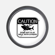 Caution - Does Not Play Well With Others Wall Cloc
