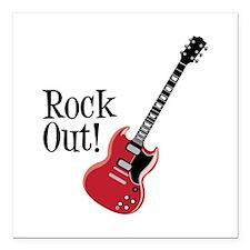 "Rock Out Square Car Magnet 3"" x 3"""
