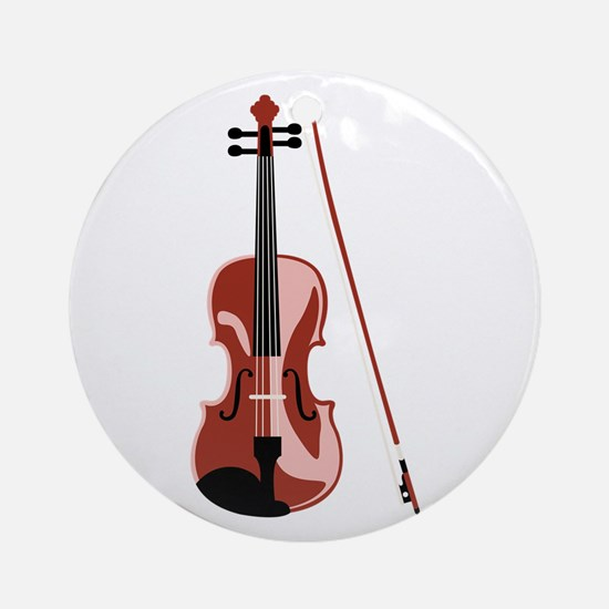 Violin and Bow Ornament (Round)
