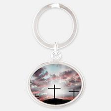 Sunrise Faith Oval Keychain
