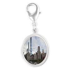 Chicago Skyline Silver Oval Charm