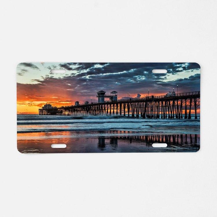 Oceanside Pier Aluminum License Plate