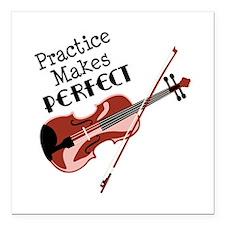 "Practice Makes Perfect Square Car Magnet 3"" x 3"""