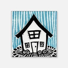 "Happy House Square Sticker 3"" x 3"""