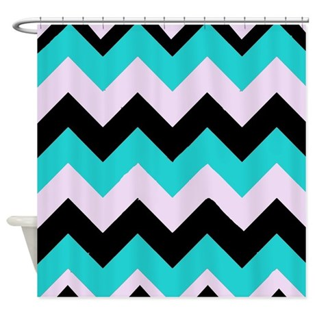 Turquoise Black Pink Chevrons Shower Curtain By