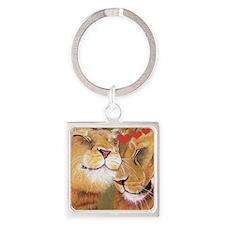 Lion Valentine Square Keychain