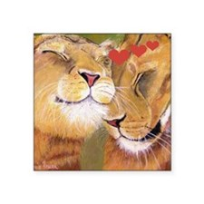 "Lion Valentine Square Sticker 3"" x 3"""