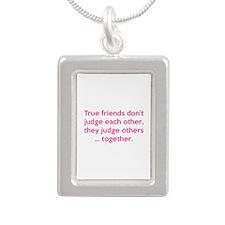 True Friends Silver Portrait Necklace