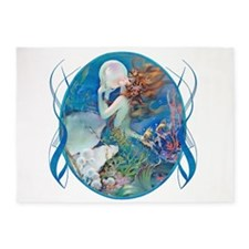Clive Erotic Pearl Mermaid Horiz. 5'X7'area Rug