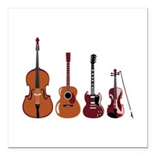 "Bass Guitars and Violin Square Car Magnet 3"" x 3"""